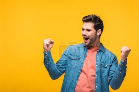 Photo for Happy handsome man cheering with clenched fists Isolated On yellow - Royalty Free Image