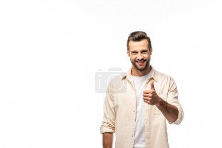 Photo pour Homme heureux montrant pouce vers le haut signe isolé sur blanc avec espace de copie - image libre de droit