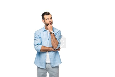 Photo for Pensive man touching chin Isolated On White with copy space - Royalty Free Image
