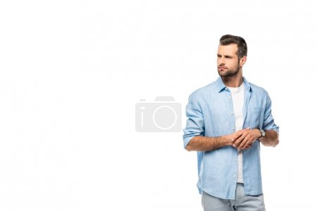 Photo for Serious man looking away Isolated On White wih copy space - Royalty Free Image