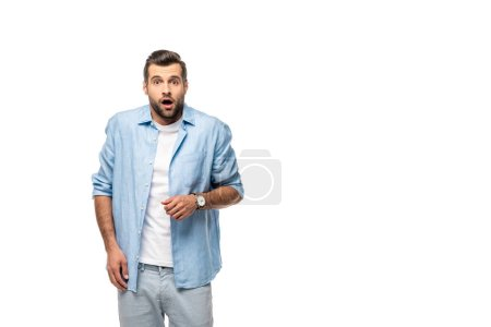 Photo for Surprised man looking at camera Isolated On White with copy space - Royalty Free Image