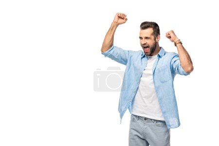 Photo for Excited man cheering with clenched fists Isolated On White - Royalty Free Image
