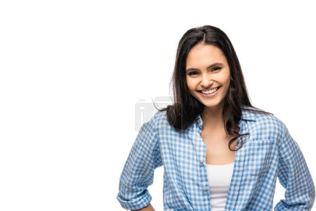 beautiful happy girl looking at camera Isolated On White