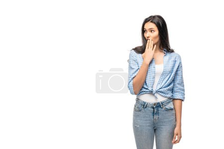 Photo for Surprised girl covering mouth Isolated On White with copy space - Royalty Free Image
