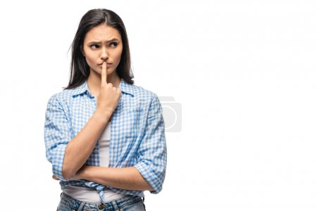 pensive girl with finger on mouth Isolated On White with copy space