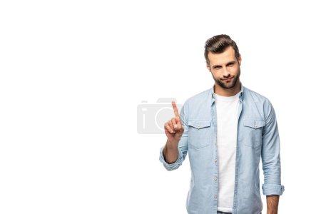 Photo pour Bel homme pointant avec le doigt isolé sur le blanc avec l'espace de copie - image libre de droit