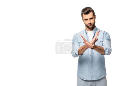 Photo pour Man showing stop sign and looking at camera Isolated On White - image libre de droit