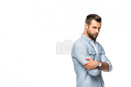 Photo for Confident man with crossed arms Isolated On White with copy space - Royalty Free Image