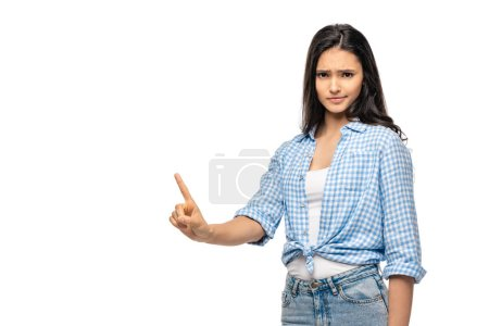 Photo for Skeptical girl pointing with finger Isolated On White with copy space - Royalty Free Image