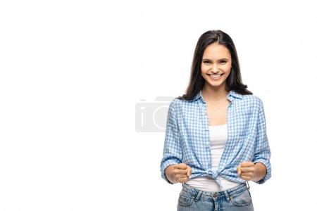 Photo pour Fille heureuse faisant des gestes avec des poings serrés d'isolement sur le blanc avec l'espace de copie - image libre de droit