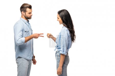 Photo for Man and young woman playing rock-paper-scissors Isolated On White - Royalty Free Image