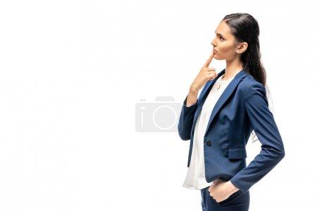 Photo pour Chère femme d'affaires en costume toucher menton isolé sur blanc - image libre de droit