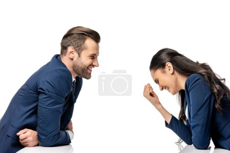 Photo for Businessman and businesswoman in formal wear laughing isolated on white - Royalty Free Image