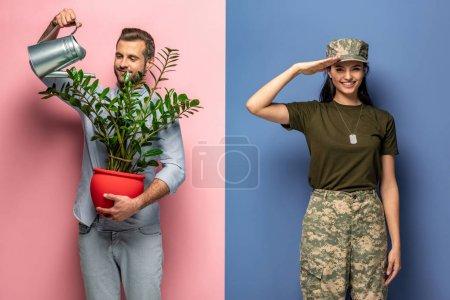 Photo pour Homme arrosage plante tandis que la femme en uniforme militaire saluant sur bleu et rose - image libre de droit