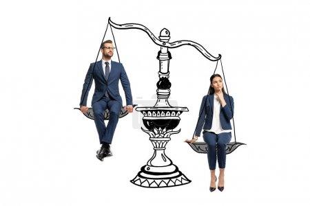 Photo pour Homme d'affaires et femme d'affaires dans l'usure formelle s'asseyant sur des balances d'équilibre d'isolement sur le blanc - image libre de droit