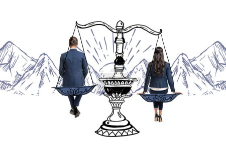 Photo for Back view view of businessman and businesswoman sitting on balance scales isolated on white - Royalty Free Image