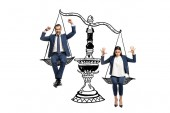 """Постер, картина, фотообои """"excited businessman and businesswoman sitting on balance scales and gesturing isolated on white"""""""