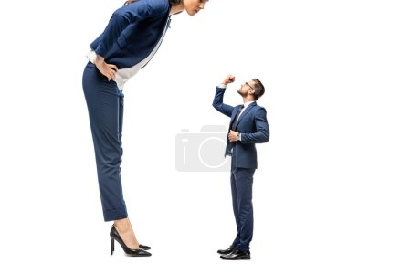 small businessman showing clenched fist at big businesswoman Isolated On White