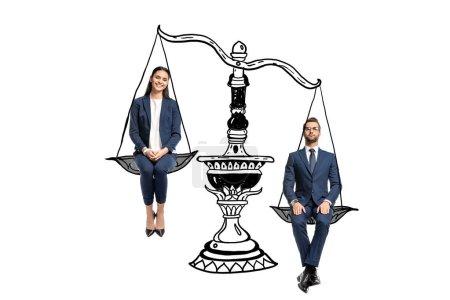 Photo pour Homme d'affaires et femme d'affaires assis sur des échelles d'équilibre isolé sur blanc - image libre de droit