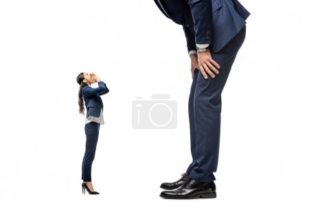 small businesswoman shouting at big businessman Isolated On White