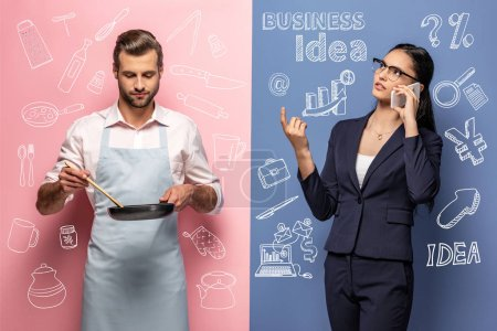 Photo pour Man in apron holding frying pan while businesswoman talking on smartphone on blue and pink - image libre de droit