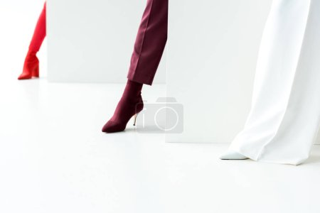 Photo for Cropped view of stylish women standing in heels on white - Royalty Free Image