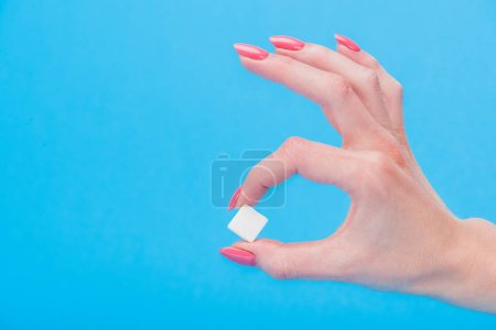 Photo for Cropped view of woman holding white sugar cube isolated on blue - Royalty Free Image