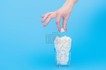 Photo for Partial view of woman holding sugar cube near glass full of white sugar cubes isolated on blue - Royalty Free Image