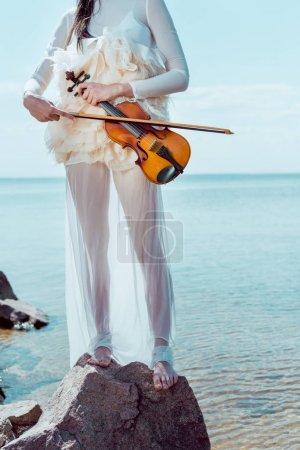 Foto de Vista recortada de la mujer adulta en traje de cisne blanco de pie sobre el fondo azul del río con violín - Imagen libre de derechos