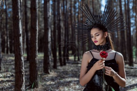 Foto de Selective focus of adult woman in witch costume standing on forest background, holding red rose - Imagen libre de derechos