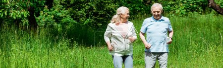 Photo for Panoramic shot of senior woman looking at husband while running in green park - Royalty Free Image