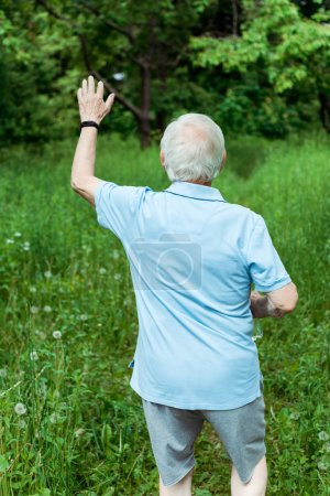 Photo for Back view of senior man with grey hair waving hand in green park - Royalty Free Image