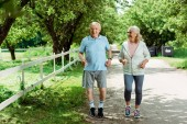 "Постер, картина, фотообои ""cheerful retired woman running near senior husband in park """
