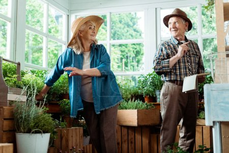 Photo for Cheerful retired man and woman in straw hats looking at each other - Royalty Free Image