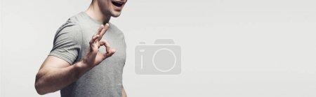 Photo pour Vue partielle de l'homme de sourire affichant le geste ok d'isolement sur le gris, le projectile panoramique, l'émotion humaine et le concept d'expression - image libre de droit