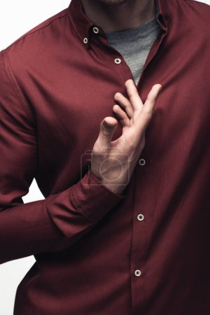 Photo pour Vue partielle de l'homme faisant des gestes avec la main tout en utilisant le langage corporel isolé sur le concept gris, d'émotion humaine et d'expression - image libre de droit