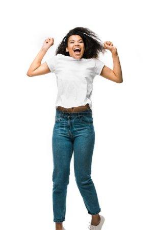 Foto de Mujer afroamericana feliz gestituring mientras celebra aislado en blanco - Imagen libre de derechos