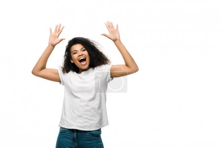 Photo for Positive young african american woman gesturing isolated on white - Royalty Free Image