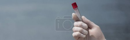 Photo for Panoramic shot of water inspector in latex glove holding test tube - Royalty Free Image