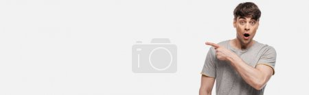Photo for Panoramic shot of shocked young man pointing with finger and looking at camera isolated on grey - Royalty Free Image
