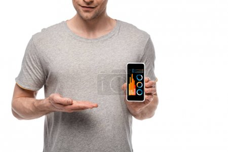 Photo for Cropped view of man presenting smartphone with infographic, isolated on white - Royalty Free Image