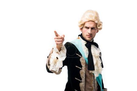 Photo pour Homme victorien sérieux restant et pointant avec le doigt isolé sur le blanc - image libre de droit