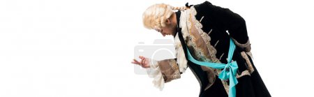 Photo for Panoramic shot of handsome victorian gentleman in wig gesturing while bowing down isolated on white - Royalty Free Image