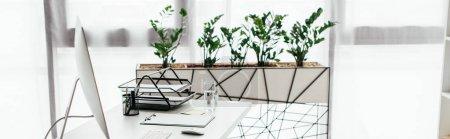 Photo pour Plan panoramique du bureau avec table et pot de fleurs avec plante - image libre de droit