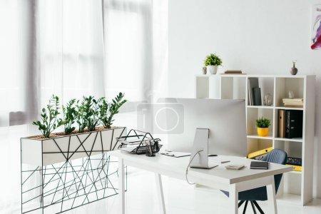 Photo pour Table avec ordinateur et plateau de document près de la bibliothèque et du pot de fleur avec des usines - image libre de droit