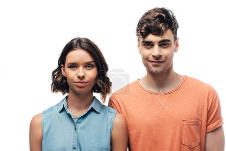 young, positive man and woman smiling at camera isolated on white