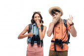 """Постер, картина, фотообои """"two cheerful tourists showing thumb up and ok sign while looking at camera isolated on white"""""""