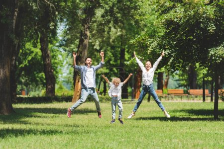 happy family jumping with raised hands in park during daytime