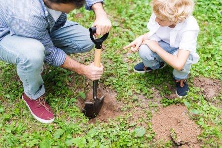 Photo pour Vue recadrée du père creusant le sol avec la pelle près du fils pour planter le plant dans le stationnement - image libre de droit