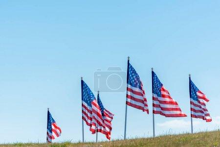 Photo pour Drapeaux américains nationaux sur l'herbe verte contre le ciel bleu - image libre de droit